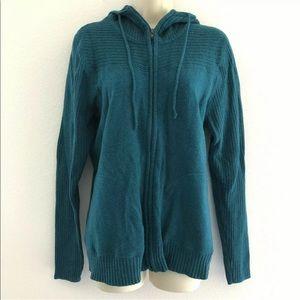 Marmot XL sweater hooded zip-up wool blend teal